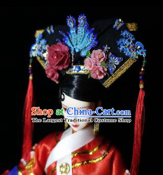 Chinese Ancient Imperial Consort Cloisonne Headwear Traditional Qing Dynasty Palace Manchu Hair Accessories for Women