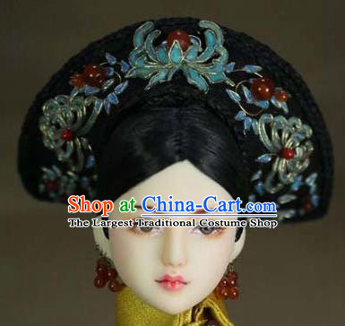 Chinese Ancient Palace Imperial Consort Blueing Hair Ornament Headwear Traditional Qing Dynasty Manchu Queen Hair Accessories for Women