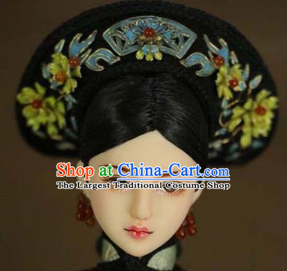 Chinese Ancient Palace Imperial Consort Cloisonne Lotus Hair Ornament Headwear Traditional Qing Dynasty Manchu Queen Hair Accessories for Women