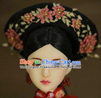 Chinese Ancient Palace Imperial Consort Cloisonne Pink Flowers Hair Ornament Headwear Traditional Qing Dynasty Manchu Hair Accessories for Women