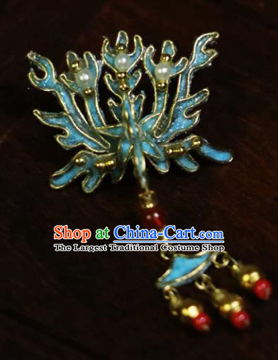 Chinese Ancient Imperial Consort Cloisonne Hairpins Traditional Qing Dynasty Palace Manchu Hair Accessories for Women