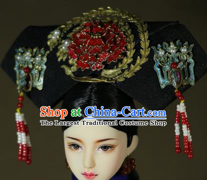 Chinese Ancient Cloisonne Red Peony Headwear Traditional Qing Dynasty Palace Manchu Imperial Consort Hair Accessories for Women