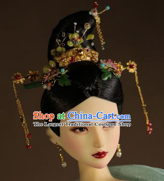 Chinese Ancient Imperial Concubine Hairpins Headwear Traditional Tang Dynasty Hair Accessories for Women