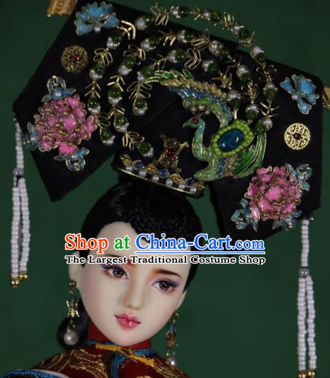 Chinese Ancient Empress Hairpins Phoenix Headwear Traditional Qing Dynasty Palace Manchu Queen Hair Accessories for Women