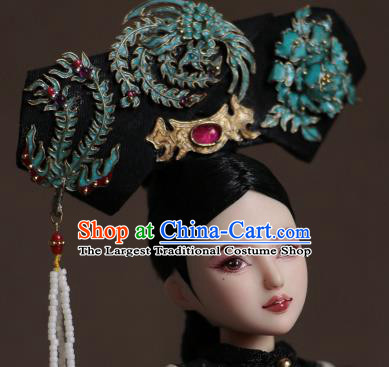 Chinese Ancient Palace Empress Headwear Traditional Qing Dynasty Manchu Queen Hair Accessories for Women