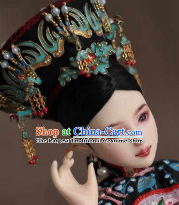 Chinese Ancient Palace Empress Phoenix Hat Headwear Traditional Qing Dynasty Manchu Queen Hair Accessories for Women