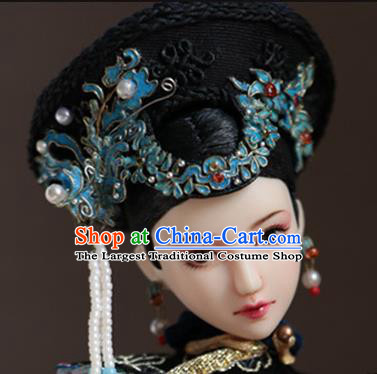 Chinese Ancient Palace Manchu Phoenix Hairpins Traditional Qing Dynasty Imperial Consort Hair Accessories for Women
