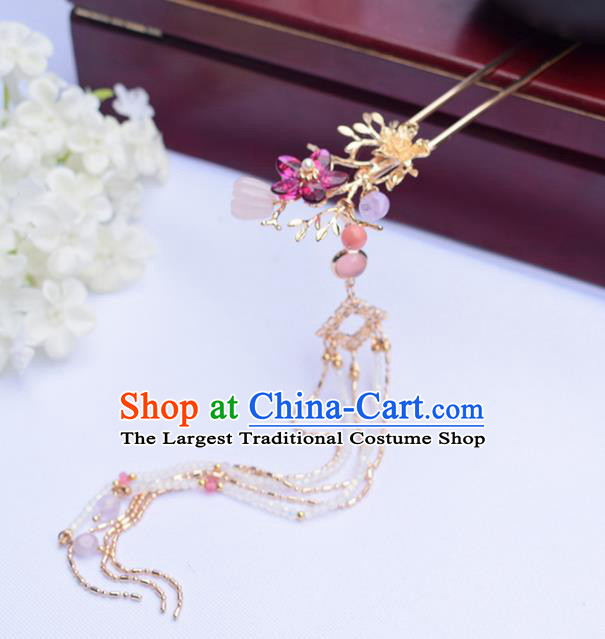 Chinese Ancient Princess Golden Hairpins Tassel Step Shake Traditional Hanfu Hair Accessories for Women
