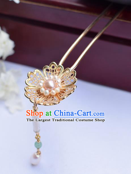 Chinese Ancient Princess Golden Hairpins Pearls Tassel Step Shake Traditional Hanfu Hair Accessories for Women