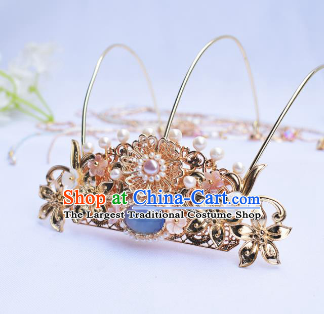 Chinese Ancient Princess Hairpins Blue Chalcedony Tassel Phoenix Coronet Traditional Hanfu Hair Accessories for Women