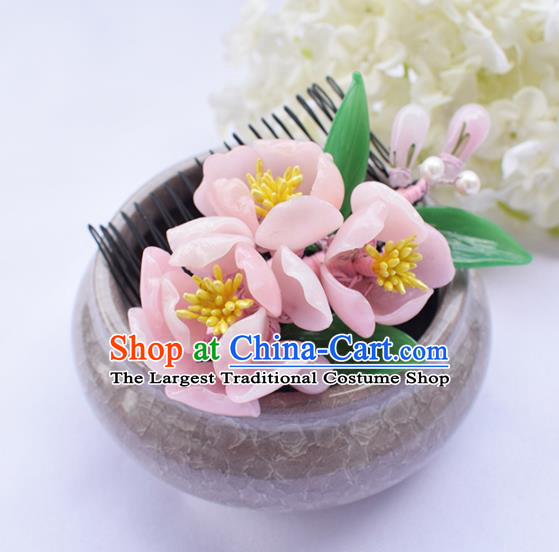 Chinese Ancient Princess Pink Flowers Hair Comb Hairpins Traditional Hanfu Hair Accessories for Women