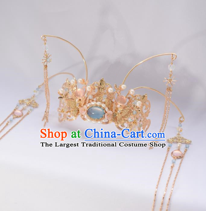 Chinese Ancient Princess Palace Blue Chalcedony Tassel Hair Crown Hairpins Traditional Handmade Hanfu Hair Accessories for Women