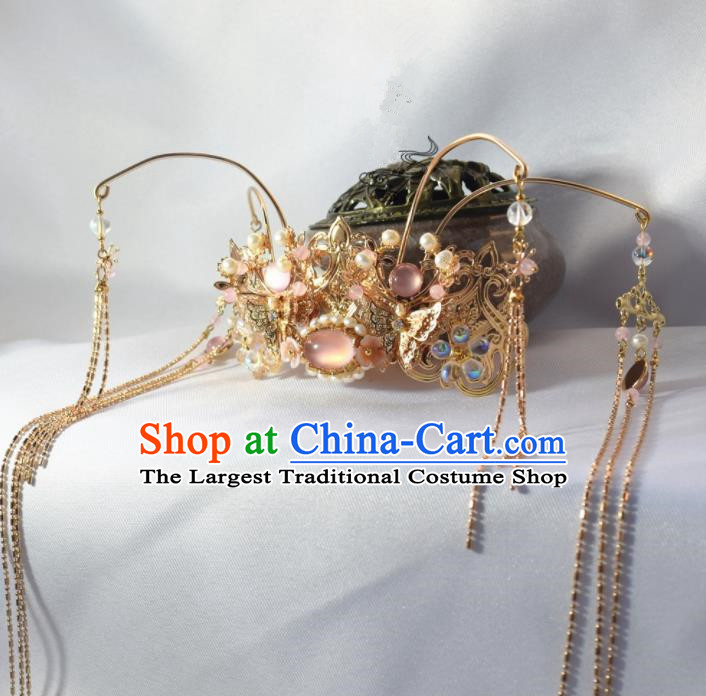 Chinese Ancient Princess Palace Pink Chalcedony Tassel Hair Crown Hairpins Traditional Handmade Hanfu Hair Accessories for Women