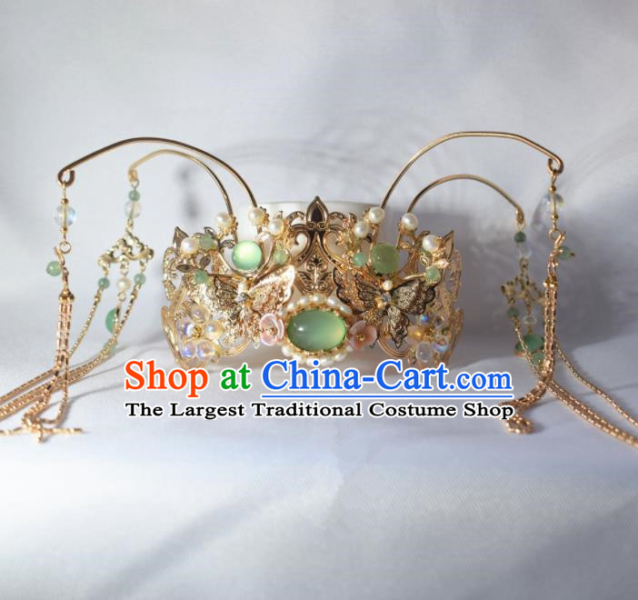 Chinese Ancient Princess Palace Green Chalcedony Tassel Hair Crown Hairpins Traditional Handmade Hanfu Hair Accessories for Women
