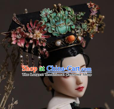 Chinese Ancient Manchu Lady Headwear Traditional Qing Dynasty Palace Imperial Consort Hair Accessories for Women