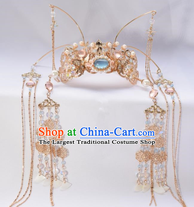 Chinese Ancient Princess Palace Blue Tassel Hair Crown Hairpins Traditional Handmade Hanfu Hair Accessories for Women