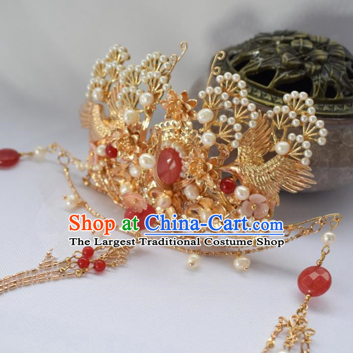 Chinese Ancient Princess Palace Red Tassel Hair Crown Hairpins Traditional Handmade Hanfu Hair Accessories for Women