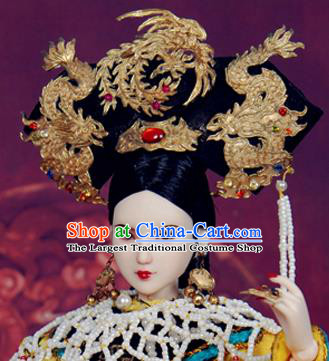 Chinese Ancient Palace Concubine Golden Dragon Phoenix Headwear Traditional Qing Dynasty Manchu Imperial Consort Hair Accessories for Women