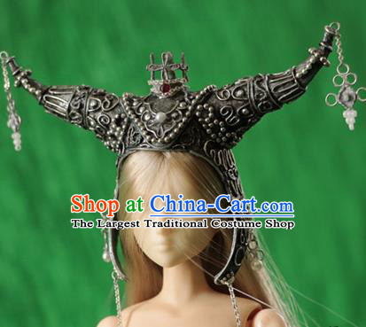 Chinese Ancient Female General Helmet Traditional Swordswoman Hanfu Hair Accessories for Women