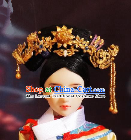 Chinese Ancient Palace Queen Headwear Traditional Qing Dynasty Manchu Empress Hair Accessories for Women