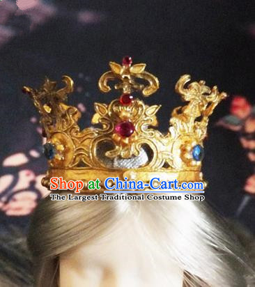 Chinese Ancient Queen Golden Royal Crown Traditional Hanfu Hair Accessories for Women