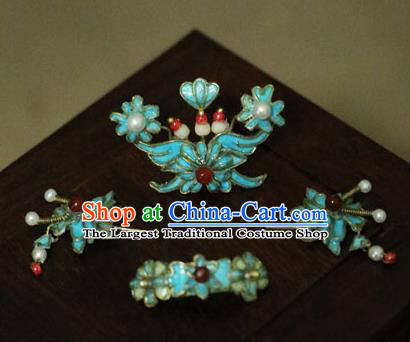 Chinese Ancient Manchu Lady Hairpins Headwear Traditional Qing Dynasty Princess Hair Accessories for Women