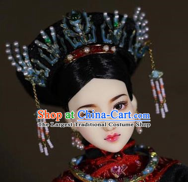 Chinese Ancient Empress Cloisonne Phoenix Headwear Traditional Qing Dynasty Palace Manchu Queen Hair Accessories for Women