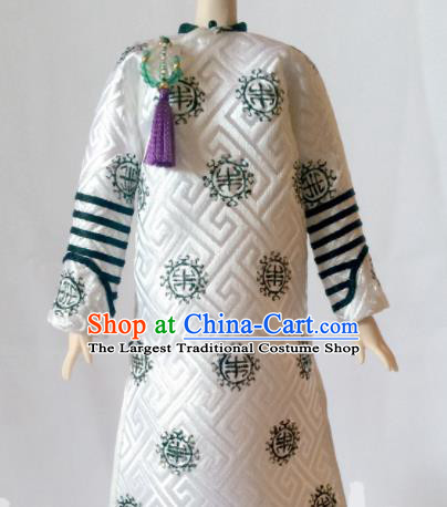 Chinese Qing Dynasty Manchu Queen White Qipao Dress Ancient Imperial Consort Embroidered Historical Costume for Women