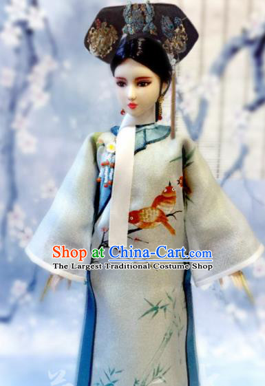 Chinese Qing Dynasty Manchu Lady Green Qipao Dress Ancient Imperial Consort Embroidered Historical Costume for Women