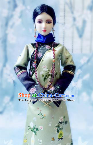 Chinese Qing Dynasty Manchu Imperial Concubine Green Qipao Dress Ancient Imperial Consort Embroidered Historical Costume for Women