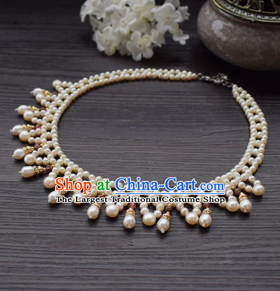 Handmade Chinese Hanfu Pearls Necklace Traditional Ancient Princess Necklet Accessories for Women
