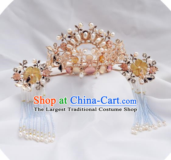 Chinese Ancient Princess Palace Pearls Hair Crown Tassel Hairpins Traditional Handmade Hanfu Hair Accessories for Women