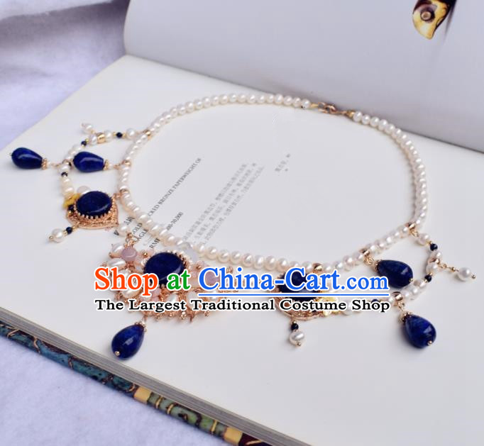 Handmade Chinese Hanfu Blue Stone Necklace Traditional Ancient Princess Necklet Accessories for Women