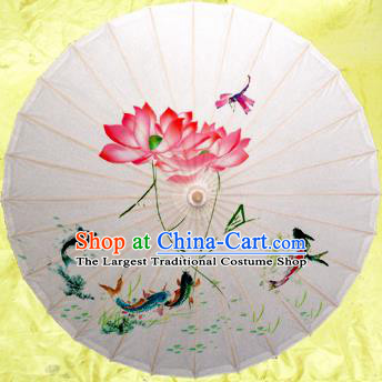 Handmade Chinese Traditional Printing Lotus White Umbrellas Ancient Oiled Paper Umbrella