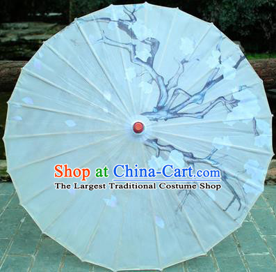 Handmade Chinese Traditional Printing Plum White Oiled Paper Umbrellas Ancient Princess Umbrella