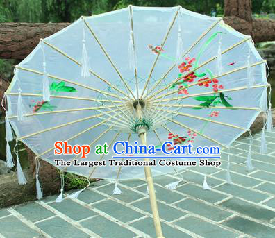 Handmade Chinese Traditional Printing White Tassel Oiled Paper Umbrellas Ancient Princess Umbrella