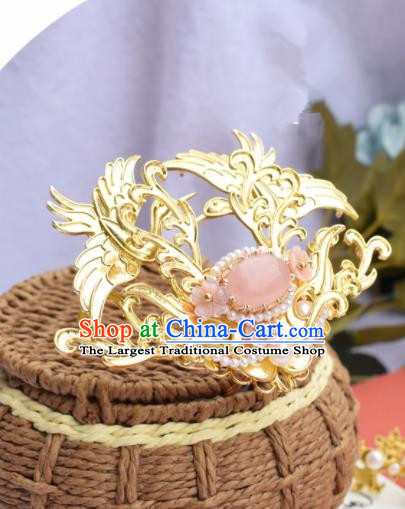 Chinese Ancient Princess Golden Crane Hair Crown Palace Hairpins Traditional Handmade Hanfu Hair Accessories for Women