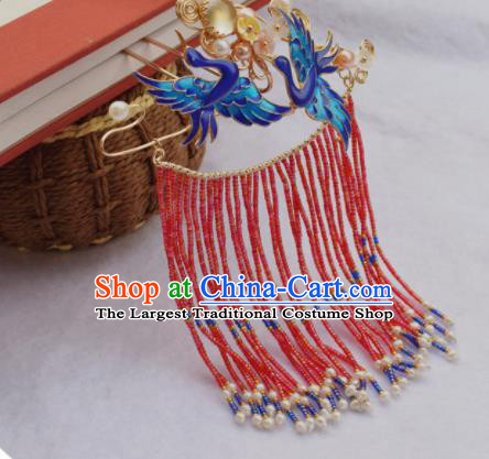 Chinese Ancient Princess Cloisonne Cranes Hairpins Traditional Handmade Hanfu Hair Accessories for Women