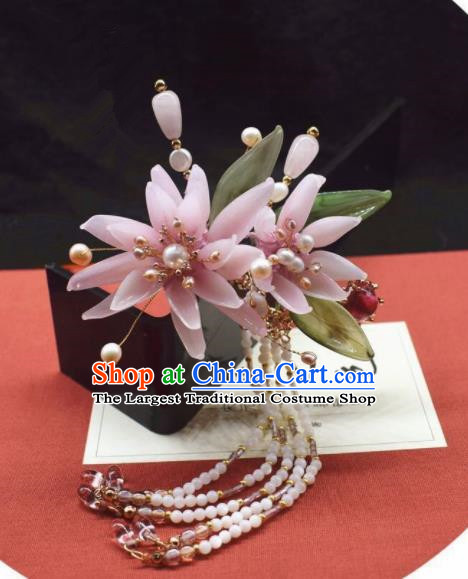 Chinese Ancient Palace Pink Flowers Tassel Hair Clip Princess Hairpins Traditional Handmade Hanfu Hair Accessories for Women