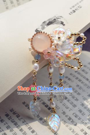 Chinese Ancient Princess Palace Rose Chalcedony Tassel Hair Claw Hairpins Traditional Handmade Hanfu Hair Accessories for Women