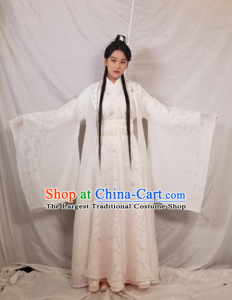 Chinese Ancient Palace Princess White Hanfu Dress Traditional Northern and Southern Dynasties Nobility Lady Historical Costume for Women