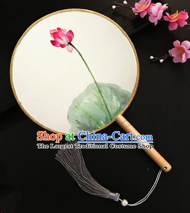 Chinese Handmade Classical Palace Fans Ink Painting Red Lotus Silk Round Fan for Women