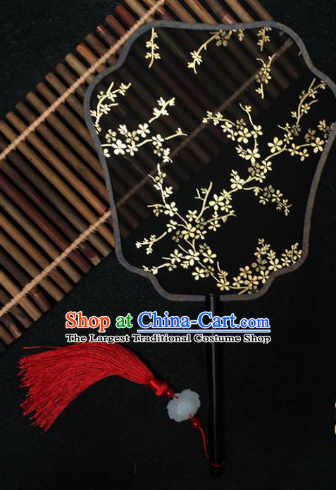 Chinese Handmade Classical Black Palace Fans Traditional Gilding Plum Blossom Silk Fan for Women