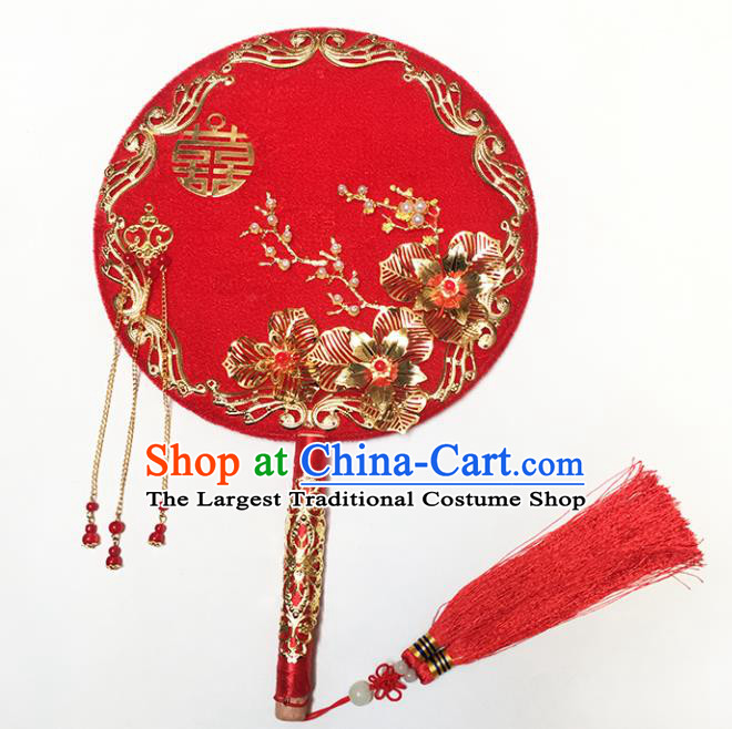 Chinese Handmade Classical Palace Fans Traditional Wedding Bride Red Round Fan for Women
