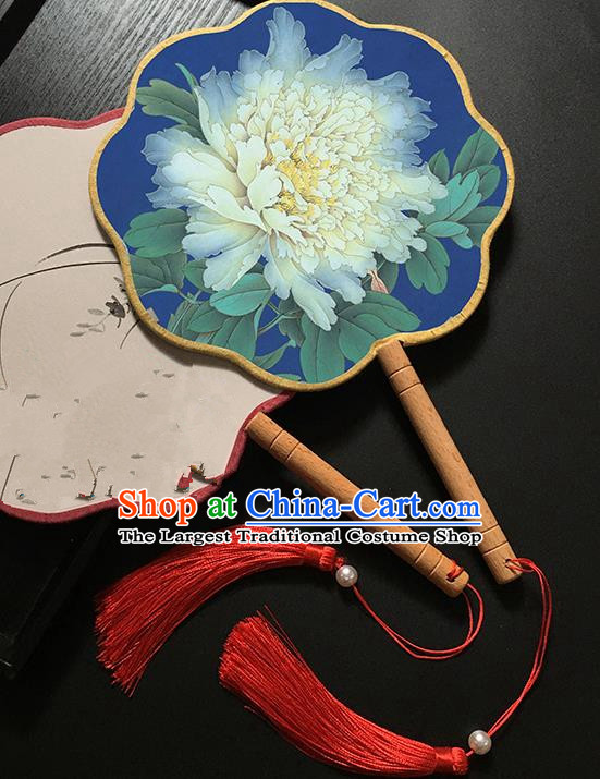 Chinese Handmade Classical Palace Fans Traditional Printing Peony Blue Hanfu Fan for Women