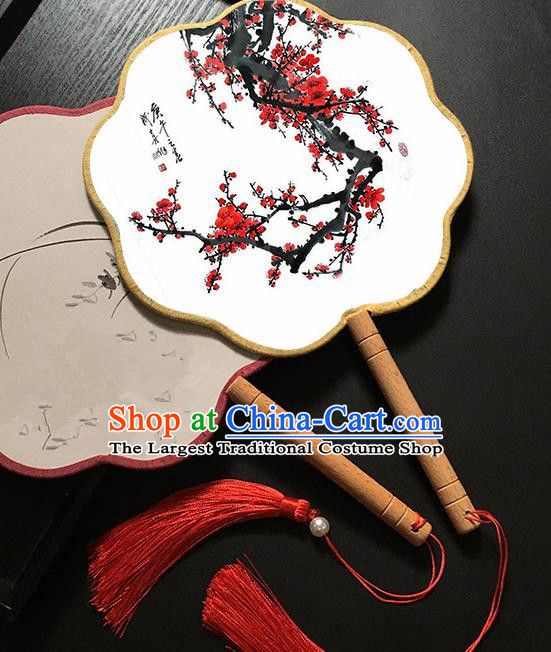Chinese Handmade Classical Palace Fans Traditional Printing Plum Blossom Hanfu Fan for Women
