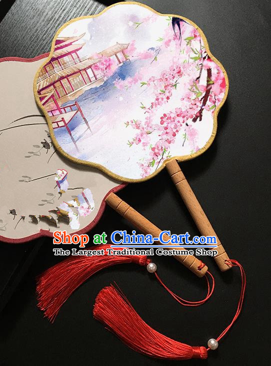 Chinese Handmade Classical Palace Fans Traditional Printing Peach Blossom Hanfu Fan for Women