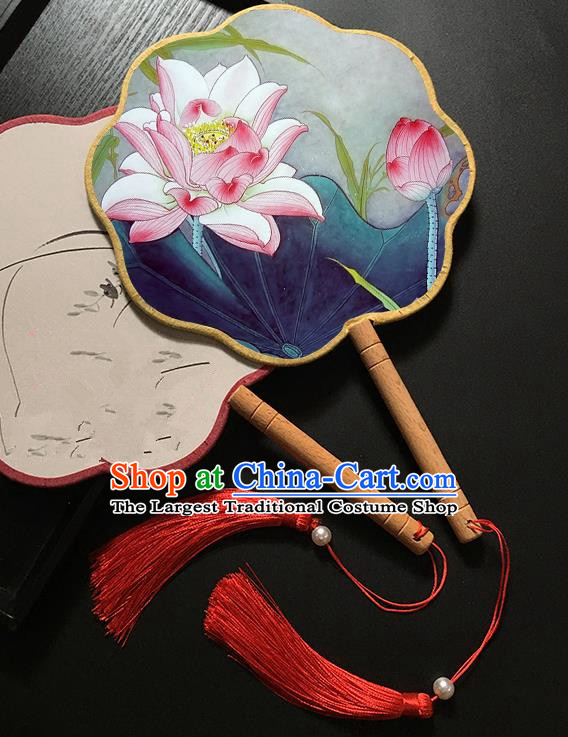 Chinese Handmade Classical Palace Fans Traditional Printing Pink Lotus Hanfu Fan for Women