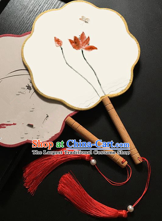 Chinese Handmade Classical Palace Fans Traditional Ink Painting Lotus Hanfu Fan for Women
