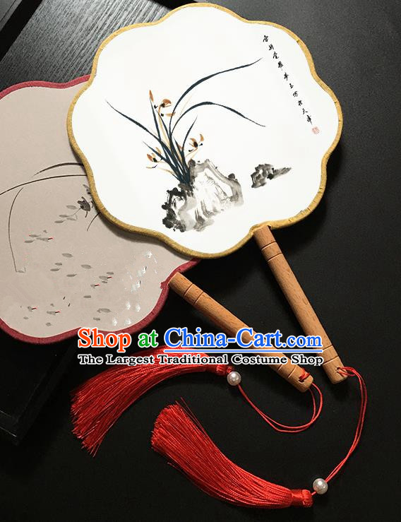 Chinese Handmade Classical Palace Fans Traditional Ink Painting Orchid Hanfu Fan for Women